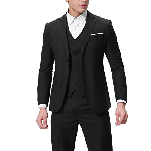 3 Y Pantalones nbsp;piezas Chaleco Hombre 1 Ajuste Chaqueta Moderno Negro Con Traje De Cuadros schwarz HYwqRR
