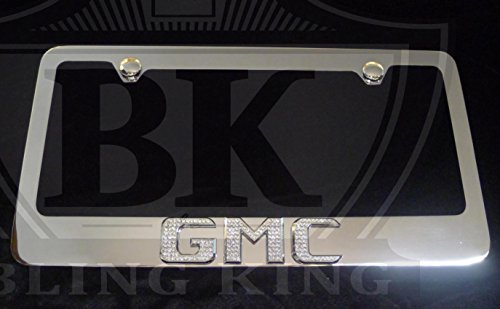 GMC Chrome License Plate Frame w/ Iced Out Swarovski Crystal Emblem Badge -  Bling King