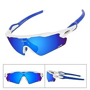 Batfox Polarized Sports Sunglasses Glasses for Running Cycling Baseball Fishing Outdoor Men Women Youth Interchangeable Lenses Tr90 Unbreakable Frame 100% UV Protection(Blue, F-868)