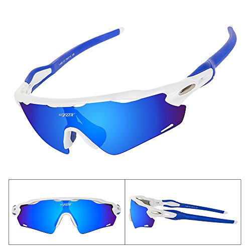 Batfox Polarized Sports Sunglasses Glasses for Running Cycling Baseball Fishing Outdoor Men Women Youth Interchangeable Lenses Tr90 Unbreakable Frame 100% UV Protection(Blue, - Mountain Biking Sunglasses