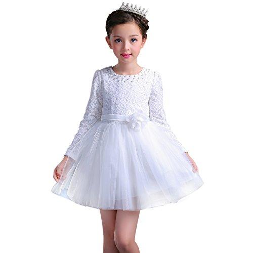 - XeYOU Girls Long Sleeve Dress Ruffles Multi-Layer Mesh Skirt Long Sleeves Round Neck Knee-Length Dress Princess Style White