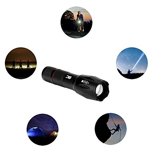 BC Master Zoomable Tactical Flashlight CREE LED Flashlights Ajustable Focus Torch FFL131 Water-Resistant Super Bright Tactical Flashlight Portable Outdoor Waterproof Handheld Flashlight 5 codes