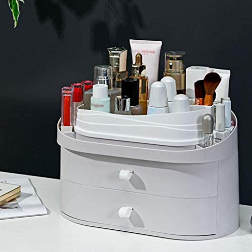 化粧品収納ボックス 家庭用防塵アクリル引き出し化粧品収納ボックス大容量化粧台スキンケアシェルフグレーホワイト SYFO (Color : White)