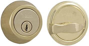 Weslock 00671-B-3SL23 Round Single Cylinder Deadbolt Polished Brass