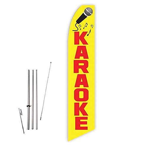 Karaoke (Yellow) Super Novo Feather Flag - Complete with 15ft Pole Set and Ground Spike