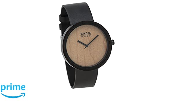 Amazon.com: Dakota Wood Watch with Leather Band and Wood Grain Dial (Ebony Case with Maple Dial): Watches