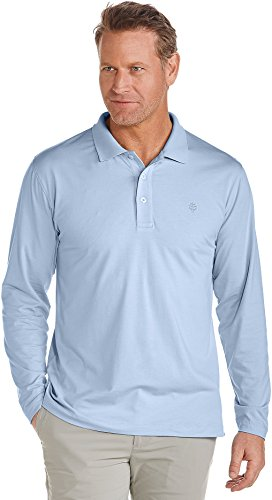 Coolibar UPF 50+ Men's Long Sleeve Polo Shirt - Sun Protective (X-Large- Vintage Blue)
