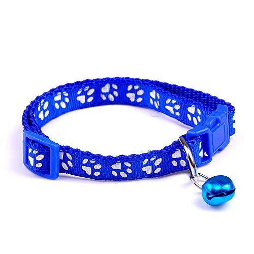 Pet Collar 4 Colors - Nylon Fabric - Cat Dog with Bell Paw Print Pattern Kitten - Paw Nylon Pattern