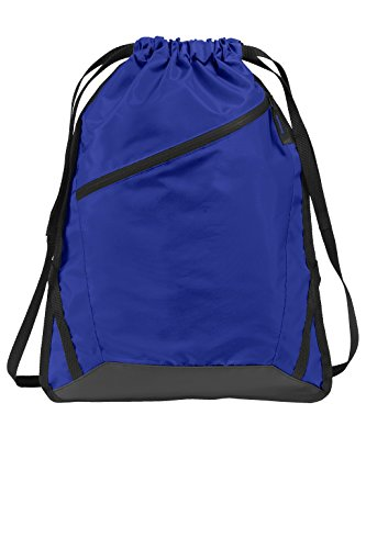Drawstring Backpack with Zippered Front Pocket Durable Reinforced Seams Gym, Team Training, Hiking Cinch Bags (True Royal/ Black)