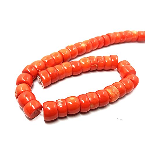 (TheTasteJewelry 10-13mm x 17-19mm Graded Size Orange Coral Rondelle Beads 15 inches 38cm Jewelry Making Necklace Healing)