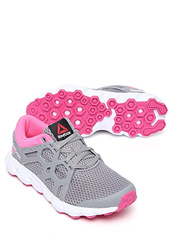 Reebok Women's Hexaffect 4.0 Mu Running Shoes Gris (Flat Grey / Poison Pink / Rose Rage / White) opGp83Uj9