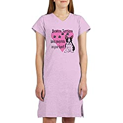 CafePress - Boston Terrier Pawprints - Women's Nightshirt, Soft Long Pajama Shirt, Cotton PJs / Pyjamas