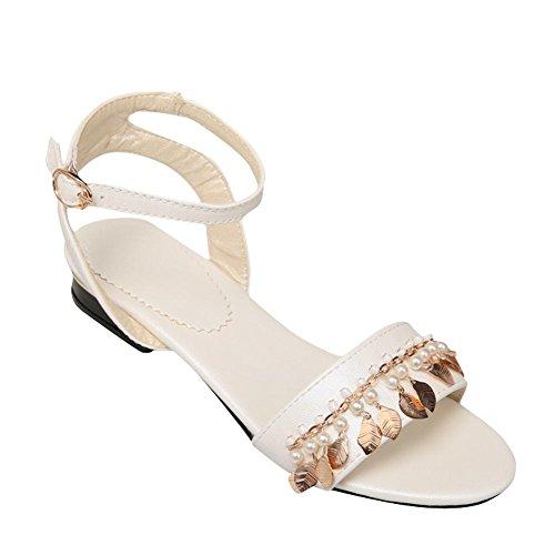Fibbia Sandalo Scarpe Shoes Alla Cinturino Bianche Tacco Caviglia Grosso Donna Con Mee dvwqCYxEv