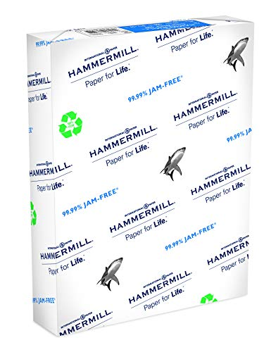 (Hammermill Paper, Great White 100% Recycled Printer Paper, 8.5 x 11 Paper, Letter Size, 20lb Paper, 92 Bright, 1 Ream / 500 Sheets (086790R) Acid Free Paper)