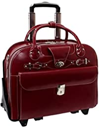 ROSEVILLE 96646 Red Leather Fly-Through Checkpoint-Friendly Detachable-Wheeled Ladies' Briefcase