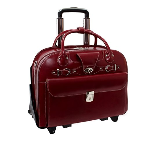Removable Wheeled Laptop Briefcase, Leather, Mid-Size, Red - ROSEVILLE | McKlein - 96646