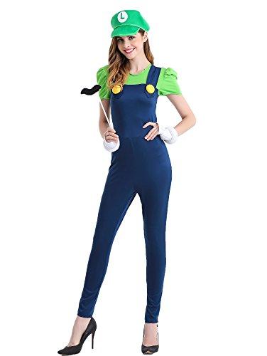Zooma Women Cosplay Super Mario Brothers Luigi Sexy Costume (Mario And Luigi Womens Costumes)