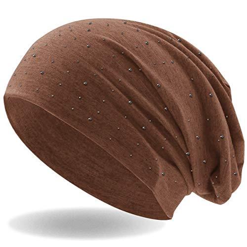 c168ebcaabbe0b Hatstar Strass Stein Beanie Slouch Long Beanie Mütze mit Edler Strass-Nieten  Applikation für Damen und Herren (Braun): Amazon.de: Bekleidung