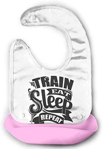 Bib Train Eat Sleep Repeat Comfortable Soft Baby Bibs Unisex,Make Mealtime Easier&Less Messy Pink