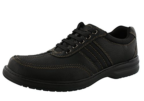 Clarks Sherwin Way Oxford - Black Tumbled Leather - Mens (Black Leather Casual Oxfords)