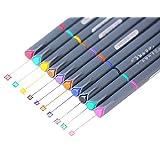 Fineliner Color Pen Set, 0.38mm Colored Fine Liner Sketch Drawing Pen, Pack of 10 Assorted Colors (1 pack)