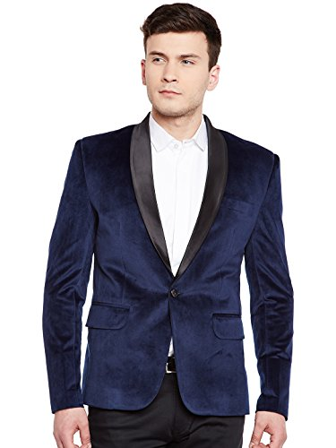 WINTAGE Men's Premium Velvet Notch Lapel Tuxedo Coat Blazer Jacket: Blue, M