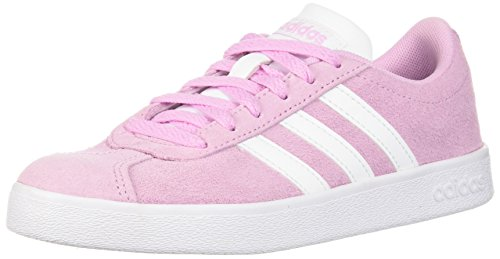 adidas Kids' VL Court 2.0 Sneaker, Frost Pink, Ftwr White, Ftwr White, 1 M US Little Kid