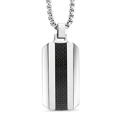 - DOG TAG NECKLACE - TUNGSTEN WITH BLACK CARBON FIBER INLAY ON 3MM STAINLESS STEEL BOX CHAIN