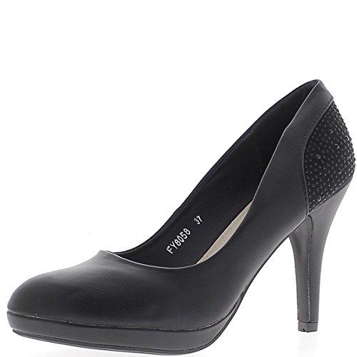 Negro mate zapatos strass de decoración de plataforma y tacón de 10cm