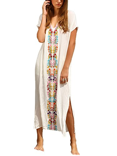 Milumia Women's Bohemian Floral Embroidery Split Maxi Dress Cover Ups White -