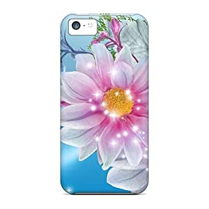 Ultra Slim Fit Hard Cases Covers Specially Made For Iphone 5c- Pink Blue Floral Beauty