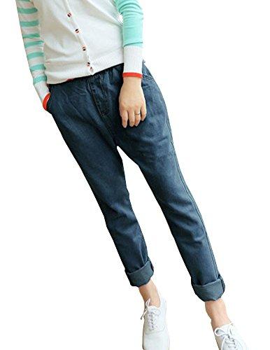 Femmes Denim Jeans Pantalon Stretch Jeans Boyfriend Grande Taille Sarouel Bleu Fonc