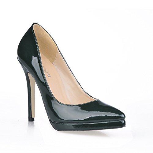 Las Cuero Mujeres Haga El Caen Red Punto Heel Barnizado Muestran La De Dark Shoes Alta Green Modelo En Clic rq7fI