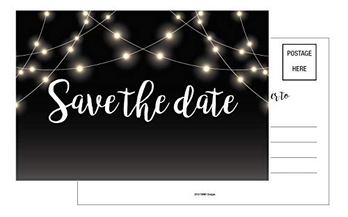 Save The Date Cards 50 4x6 Black and White Rustic Chalkboard Guests at Wedding, Engagement, Anniversary, Baby Shower, Birthday Party, Bridal, Weddings Save The Dates Postcard Invitations, Simple.