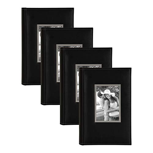 DesignOvation Sleek Black Faux Leather Photo Album, Holds 300 4x6 Photos, Set of ()