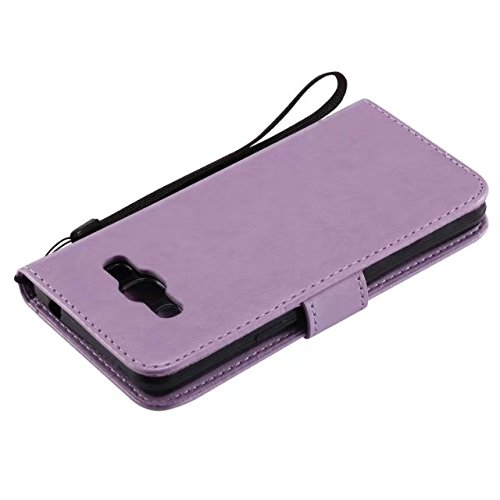 JIALUN-Personality teléfono shell Funda Samsung J3 PRO, caja de cuero PU color sólido flores en relieve Funda gato caja de silicona caja de silicona con correa de mano para Samsung J3 PRO Seguridad y  Lavender