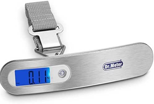 Dr.meter Backlit Digital Hanging Luggage Scale with Tare Function, Stainless Steel Hook, Weigh up to110Lbs/50Kg