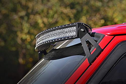 Rough Country - 70517-50-inch Curved LED Light Bar Upper Windshield Mounting Brackets (Jeep Cherokee XJ/Comanche MJ) for Jeep: 84-01 Cherokee XJ 4WD/2WD, 86-92 Comanche MJ 4WD/2WD