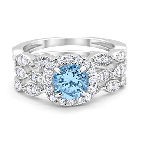 Blue Apple Co. Halo Art Deco Three Piece Wedding Engagement Bridal Set Ring Band Solid Simulated Aquamarine CZ 925 Sterling Silver, Size-7