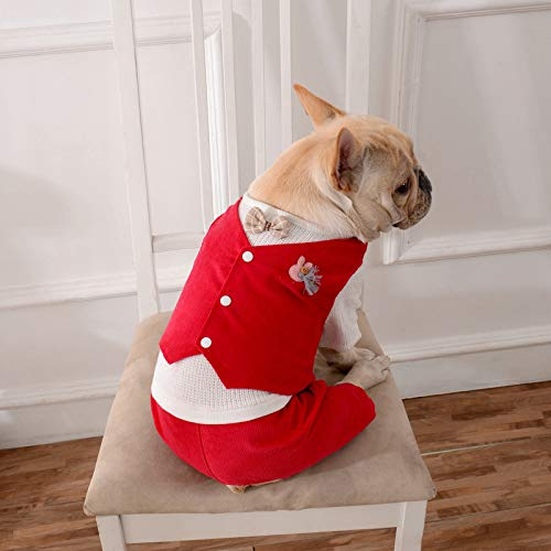 Red L Red L Ferza PetSuppliesMisc Pet clothing dog clothes knit four-legged dog clothes autumn and winter new fake two pet clothing (color   Red, Size   L)