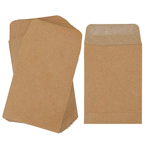 Coobey Small Coin Envelopes Kraft Self-Adhesive Mini Parts Envelopes for Coin, Seed, Jewelry, Stamps or Small Parts Storage - Coin Envelope