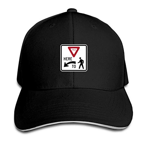 FUNNY77CAP Yield Here to Pedestrians Traffic Sign Baseball Hat Adjustable Side Unisex Black (Chris Chrisley Knows Best)