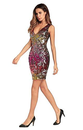 de de FOLOBE de la Red vestido noche fiesta vestido lentejuelas mujer BSSwqZ