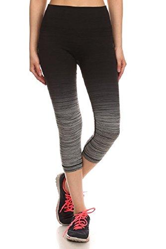 Sport Leggings Womens Activewear Ombre Print Capris Yoga Capri Sports Pants Black/Charcoal S/M