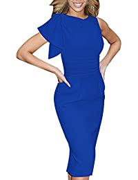 Women's Celebrity Elegant Ruched Wear To Work Party Prom Bodycon Dress