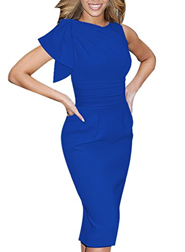 brity Elegant Ruched Wear To Work Party Prom Bodycon Dress 1157 Blu 14 (White Career Dress)