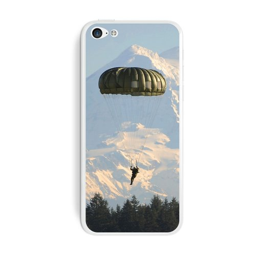 Graphics and More Parachute Paratrooper Parachutist Protective Skin Sticker Case for Apple iPhone 5C - Set of 2 - Non-Retail Packaging - Opaque (Paratrooper Set)