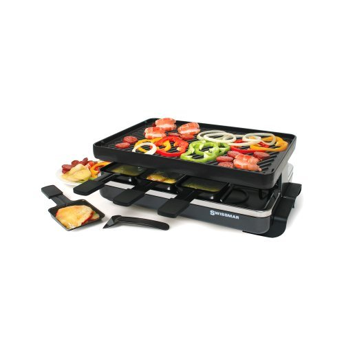 Swissmar 8-Person Classic Raclette with Reversible Cast Iron Grill Plate, Black by Swissmar by Swissmar
