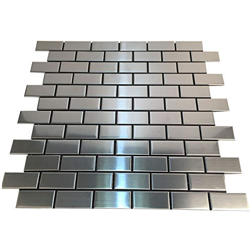 HomeyStyle Subway Stainless Steel Peel and Stick Tile Backsplash for Kitchen Bathroom Stove Self-Adhesive Metal Mosaic Tiles Wall Decor Sticker,5 Tiles x 12''x12'' by HomeyStyle (Image #1)