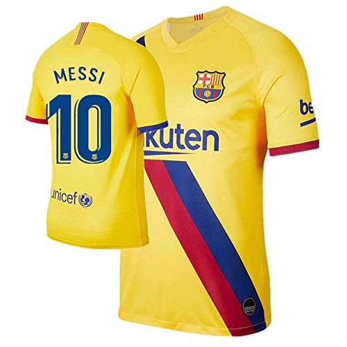 New Messi #10 Barcelona Away Mens Soccer Jersey 2019/2020 Season Color Yellow Size XL (Barcelona Away Jersey)